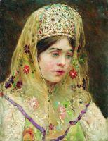 Портрет девушки в русском костюме. 1910-е