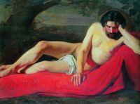 Лежащий натурщик. Конец 1850-х