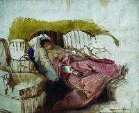 На диване. Первая половина 1880-х