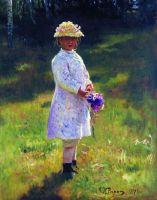 Девочка с букетом (Вера Репина). 1878