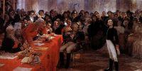 А.С.Пушкин на акте в Лицее 8 января 1815 года читает свою поэму Воспоминания в Царском селе. 1911