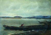 Волжский пейзаж с лодками. 1870