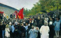 Годовой поминальный митинг у Стены коммунаров на кладбище Пер-Лашез в Париже. 1883