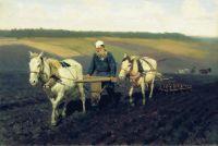 Пахарь. Л.Н.Толстой на пашне. 1887