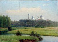 Летний пейзаж. Вид на монастырь. 1880-е Холст на картоне, масло ЧС