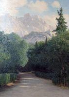 Крым. Вид на гору Ай-Петри. 1890-е Дерево, масло. 56х35,5