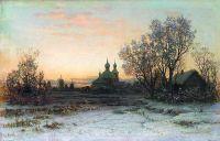 Зимний пейзаж с церковью. 1880-е Холст, масло. 31.2 x 48.4 ЧС