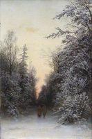 В зимнем лесу. 1888 Холст, масло. 44.3 x 28 ЧС