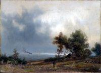 Пейзаж. Хмурое утро. Конец 1870 – начало 1880-х Холст, масло. 22.5 x 31.5 ЧС