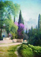 Весна в Крыму. Вид на Ай-Петри. 1880-е Фанера, масло. 46.5 x 34  ЧС