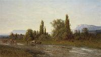 Повозка на фоне Крымского пейзажа 1890 Х., м. 78.7x134