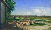 Бревна у дороги. 1867