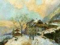 Берегу Женевского озера в зимний период, снежная погода