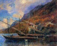 Лодки на берегу Женевского озера в Сен-Жингольф