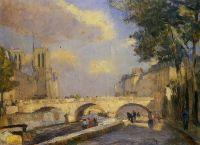 Сена Париж мост Нотер-Дам, 1902