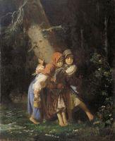 Крестьянские девочки в лесу.