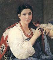 Девушка, заплетающая косу.
