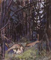 Напали на козлика серые волки.