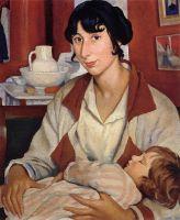 Портрет А.А.Черкесовой-Бенуа с сыном Александром.