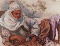 Молодая женщина в белом головном уборе.