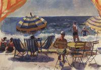 Ментона. Пляж с зонтиками.