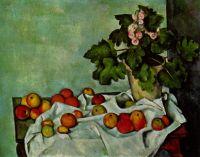 Натюрморт с яблоками и горшком первоцвета