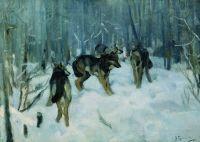 Волки в зимнем лесу. 1900-1910
