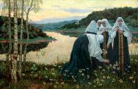 Послушницы на берегу реки. 1920-е