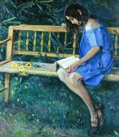 Наташа Нестерова на садовой скамейке. 1914