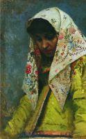 Голова молодой женщины в узорчатом платке. 1888