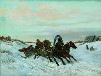 Ямская тройка на зимней дороге. 1860-1870-е