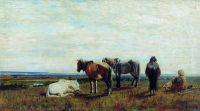 Пасущиеся лошади. 1851