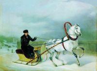 Орлов-Чесменский в санках на Барсе. Орловские рысаки. 1871