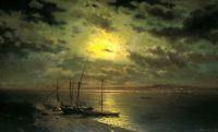 Лунная ночь на реке. 1870-е