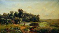 Полдень. Пейзаж с рекой и рыбачком. 1860-е