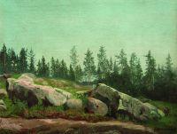 Лесной пейзаж с валунами. 1892