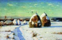 Зимний пейзаж со стогами. 1910