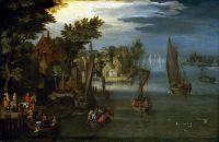 Береговой пейзаж с лодками и паромами (ок.1605) (Гринвич, Национальный морской музей)