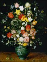 Букет цветов в голубой вазе (1608) (Вена, Музей истории искусств)