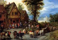 Деревенская улица со святым семейством, прибывшим в гостиницу