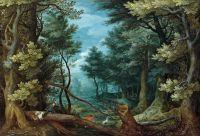 Лесной пейзаж с оленьей охотой (Частная коллекция)