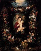 Мадонна с младенцем в обрамлении цветов