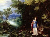 Святая Маргарита и дракон в пейзаже (Частная коллекция)