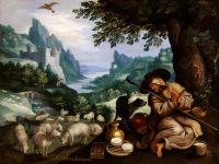 Скалистый пейзаж с отшельником Венделинусом (Частная коллекция)