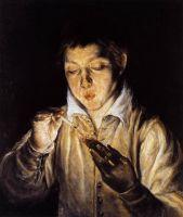 Мальчик, дующий на тлеющие угли, чтобы разжечь свечу (ок.1570) (частная коллекция)