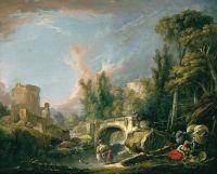 Речной пейзаж с руиной и мостом (1762) (58.5 х 72) (Мадрид, Музей Тиссен-Борнемис)