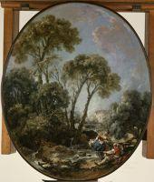 Пейзаж с рыбаком и молодой женщиной (1769) (64 ? 54) (Балтимор, Музей искусства Уолтерса)