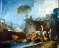 Переправа по мосту (1730-е) (59 x 72) (С-Петербург, Эрмитаж)