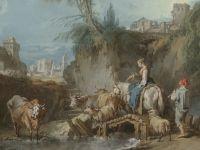 Пейзаж с пастушкой и городом вдали