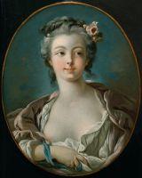 Молодая женщина с цветами в волосах, ошибочно наз. Портрет м-м Буше (ок.1734) (56.8 х 46) (Бостон, Музей изящ.искусств)